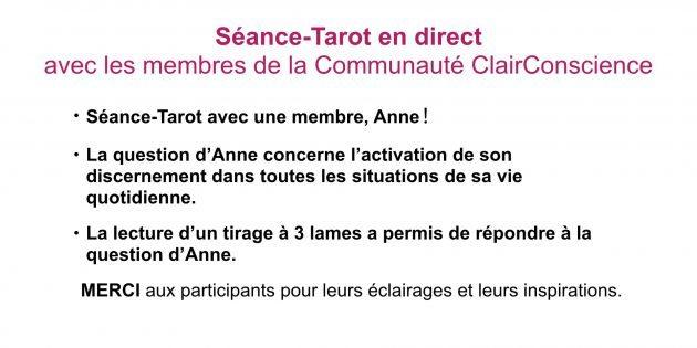 Séance-Tarot en direct dans la Communauté ClairConscience avec Hélène Scherrer